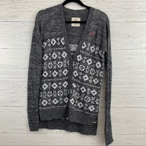 Hollister Gray and White Fair Isle Button Cardigan